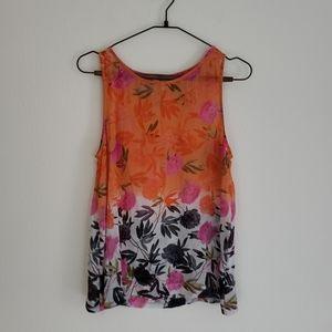Joie Orange Dip Dye Floral Tank